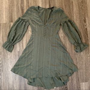 BCBG Maxazria high low green dress XS